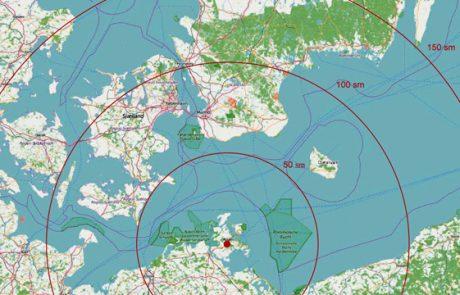 Karte mit Entfernung